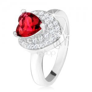 Prsten s vystupujícím srdíčkovitým červeným zirkonem, dvojité srdce, stříbro 925