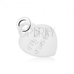 Stříbrný 925 přívěsek ve tvaru souměrného srdíčka, plochý a lesklý, Friends Forever