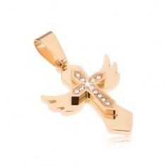 Ocelový přívěsek - zlatá barva, kříž s křídly, menší křížek se zirkony