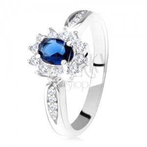 Zásnubní prsten ze stříbra 925, tmavě modrý oválný zirkon, čirý lem