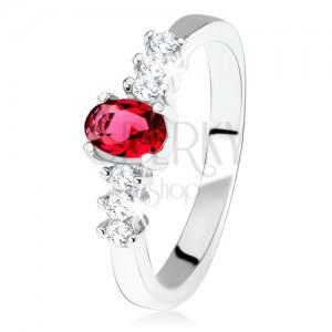 Stříbrný zásnubní prsten 925, oválný červený kamínek, čiré zirkony