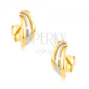 Zlaté rhodiované náušnice 375, tři lesklé dvoubarevné půloblouky