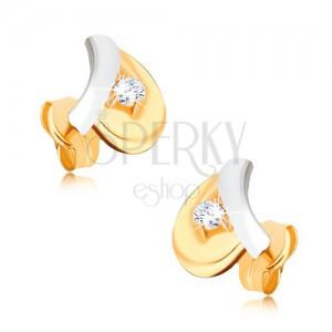 Zlaté rhodiované náušnice 375 - bílý stonek, žlutý list, kulatý zirkon