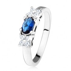 Lesklý prsten - stříbro 925, tmavě modrý oválný zirkon, čtyřlístek, čiré kamínky SP32.01