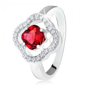 Stříbrný prsten 925, broušený červený kámen, čiré zirkony, květ