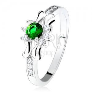 Prsten - stříbro 925, zelený kulatý zirkon, tři čiré kamínky, ozdobená ramena