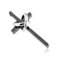 Ocelový přívěsek ve tvaru kříže, černá a stříbrná barva, prstence, zirkony
