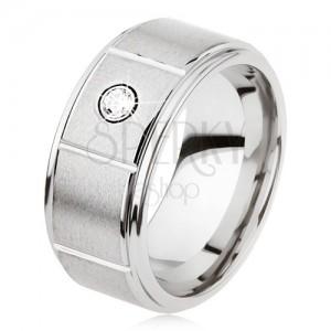 Wolframový prsten stříbrné barvy se zářezy, matný šedý povrch, zirkon