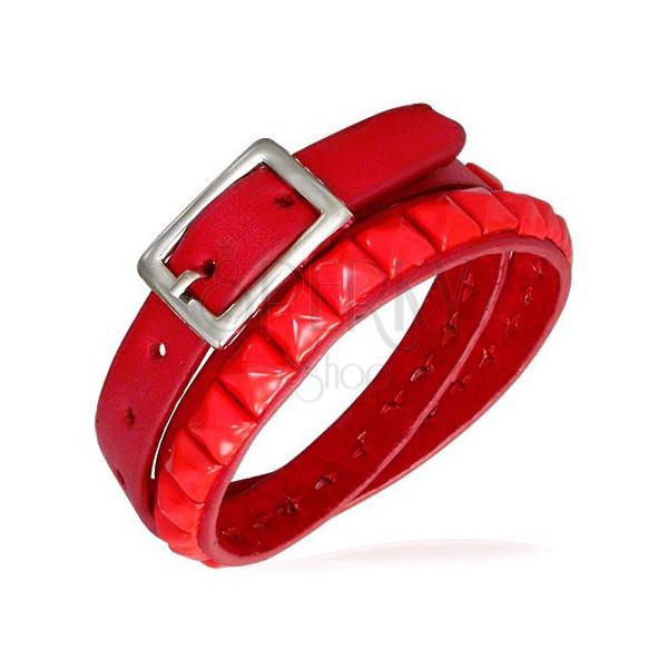 Zdvojený červený náramek z kůže s ražením