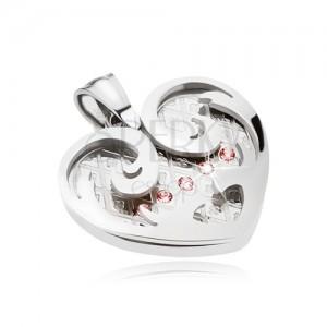 Ocelový přívěsek, srdce s ornamenty ve stříbrné barvě, růžové zirkony