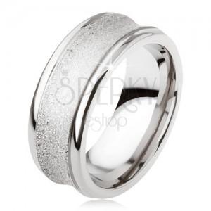 Titanový prsten - stříbrná barva, třpytivý, prohloubený střední pás
