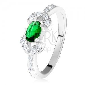 Stříbrný prsten 925, tmavě zelený oválný kámen, dvě zrnka z čirých zirkonů
