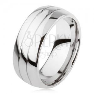 Wolframový hladký prsten, jemně vypouklý, lesklý povrch, dva zářezy