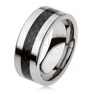Wolframový prsten stříbrné barvy s černým středovým pásem, mřížka