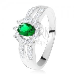 Prsten ze stříbra 925, tmavě zelený kamínek, rozdvojená zdobená ramena
