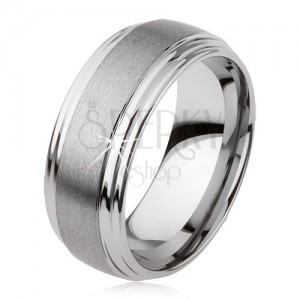 Hladký wolframový prsten, jemně vypouklý, matný povrch, stříbrná barva