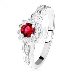 Zásnubní prsten ze stříbra 925, červený kulatý zirkon s čirým lemem