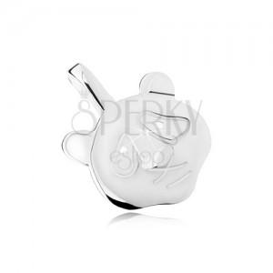 Lesklý a plochý přívěsek ve tvaru hlavy pandy, vypouklý nos, stříbro 925