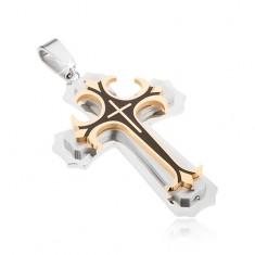 Ocelový přívěsek - stříbrná, zlatá a černá barva, dekorativní kříže