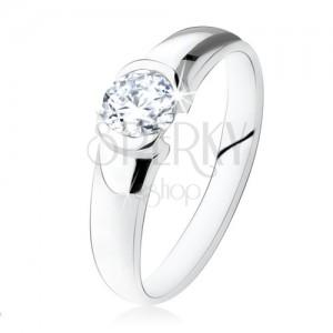 Stříbrný prsten 925, kulatý čirý kamínek, lesklý povrch