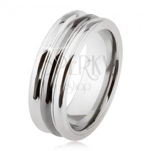 Wolframový prsten s lesklým povrchem, dva zářezy, černá a stříbrná barva