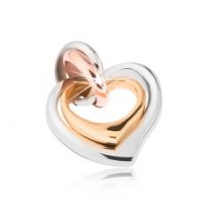Ocelový dvojpřívěsek stříbrné, zlaté a měděné barvy, asymetrická srdíčka