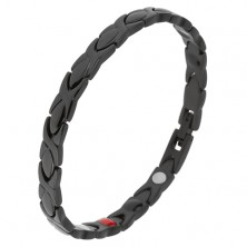 Černý náramek z oceli, lesklé články, glazovaný povrch, magnety