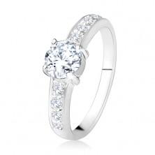 Prsten ze stříbra 925, čiré rovné linie se zirkony, broušený čirý kámen