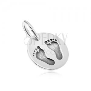 Stříbrný přívěsek 925, oválný tvar, zrcadlový lesk, otisky chodidel