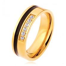 Ocelový prsten zlaté a černé barvy, ozdobná linie čirých zirkonů