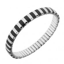 Náramek z oceli, stříbrná a černá barva, úzké pásky, roztahovací řemínek