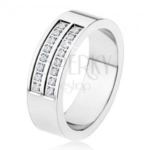 Ocelový prsten - stříbrná barva, lesklý, dvojitá linie čirých zirkonů