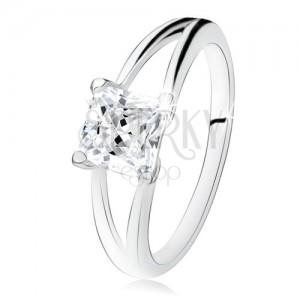 Prsten ze stříbra 925, rozdvojená ramena, čtvercový čirý zirkon