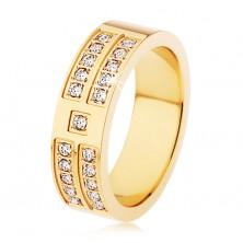 Ocelový prsten zlaté barvy, ozdobné linie a čtverečky čirých zirkonů