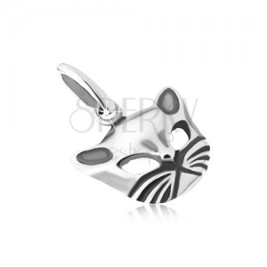 Lesklý přívěsek s patinou, vypouklá tvář kočky, stříbro 925