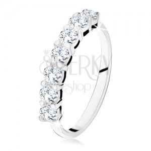 Lesklý prsten s linií sedmi čirých zirkonů, ze stříbra 925