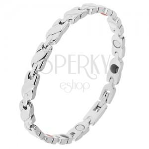 Náramek z oceli stříbrné barvy, články - pletenec, obdélníkové spoje, magnety