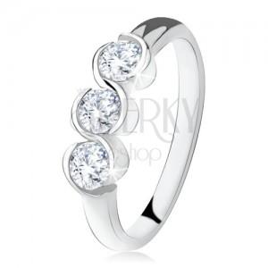 Prsten se třemi čirými kamínky, zatočené linie, stříbro 925