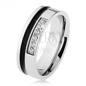 Zrcadlově lesklý ocelový prsten stříbrné barvy, černý pruh, linie zirkonů