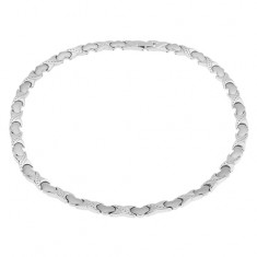 """Magnetický náhrdelník z oceli, stříbrná barva, články """"X"""", srdíčka"""