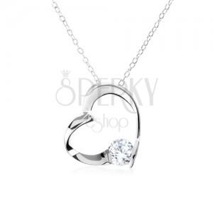Náhrdelník ze stříbra 925 - nepravidelná kontura srdce, kulatý čirý zirkon
