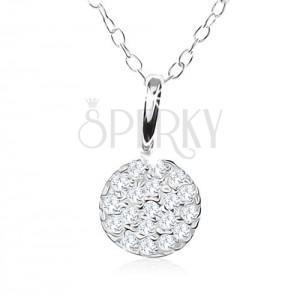 Stříbrný náhrdelník 925, třpytivý kruh vykládaný čirými zirkonky