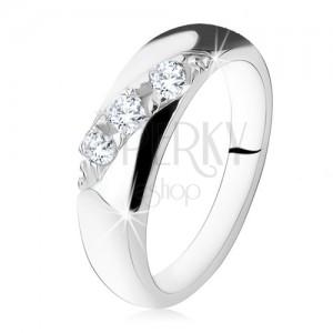 Zásnubní prsten, diagonální linie kulatých čirých zirkonů, stříbro 925