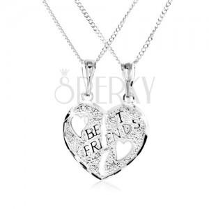 Náhrdelník ze stříbra 925 - dvojpřívěsek, přelomené srdce, nápis BEST FRIENDS