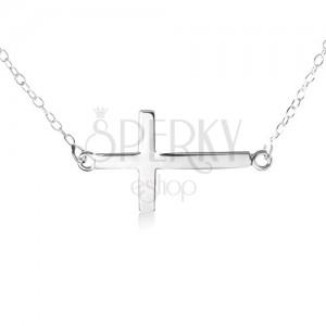 Náhrdelník ze stříbra 925, jemný řetízek, přívěsek ve tvaru plochého lesklého kříže