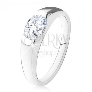 Zásnubní prsten ze stříbra 925, oválný čirý kamínek, hladká ramena