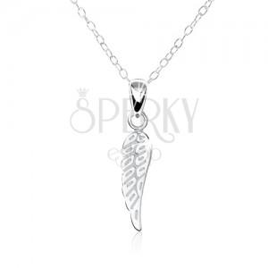 Stříbrný 925 náhrdelník - jemně gravírované ploché andělské křídlo