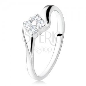 Stříbrný zásnubní prsten 925, čtverec ze zirkonů mezi rameny