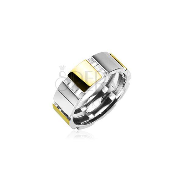 Ocelový prsten se zlatými částmi