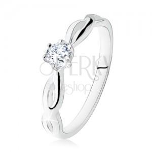 Stříbrný prsten 925, zásnubní, čirý kamínek, spirálovitá ramena
